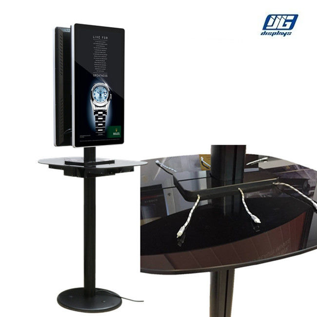 Aluminum Frame Commercial Phone Charging Station With Two Sided 32''  LCD screen