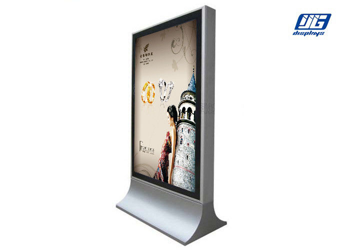 Wind Resistant LED Floor Standing Light Box With Double Side Silver Steel Frame