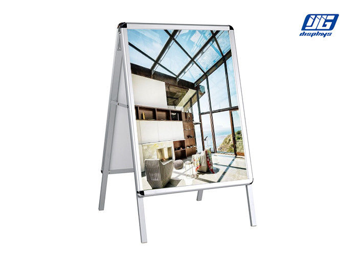 Anti Scratches Corner Silver Poster Display Stands Double Side Adjustable A Frames