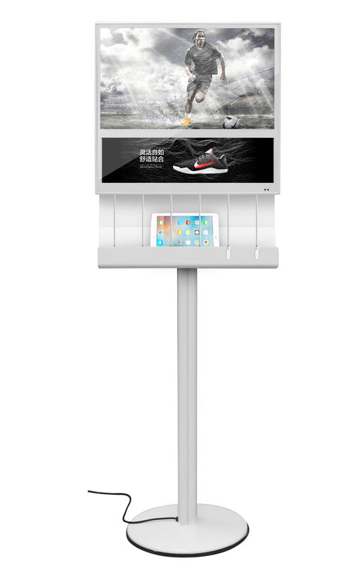 Rectangle Commercial Phone Charging Station With Digital LCD Screen In Shopping Mall